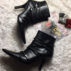 Shoes - Black Strappy Style Heeled Moto Booties size 8.5